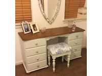 Dressing table and stool, solid wood,shabby chic painted.