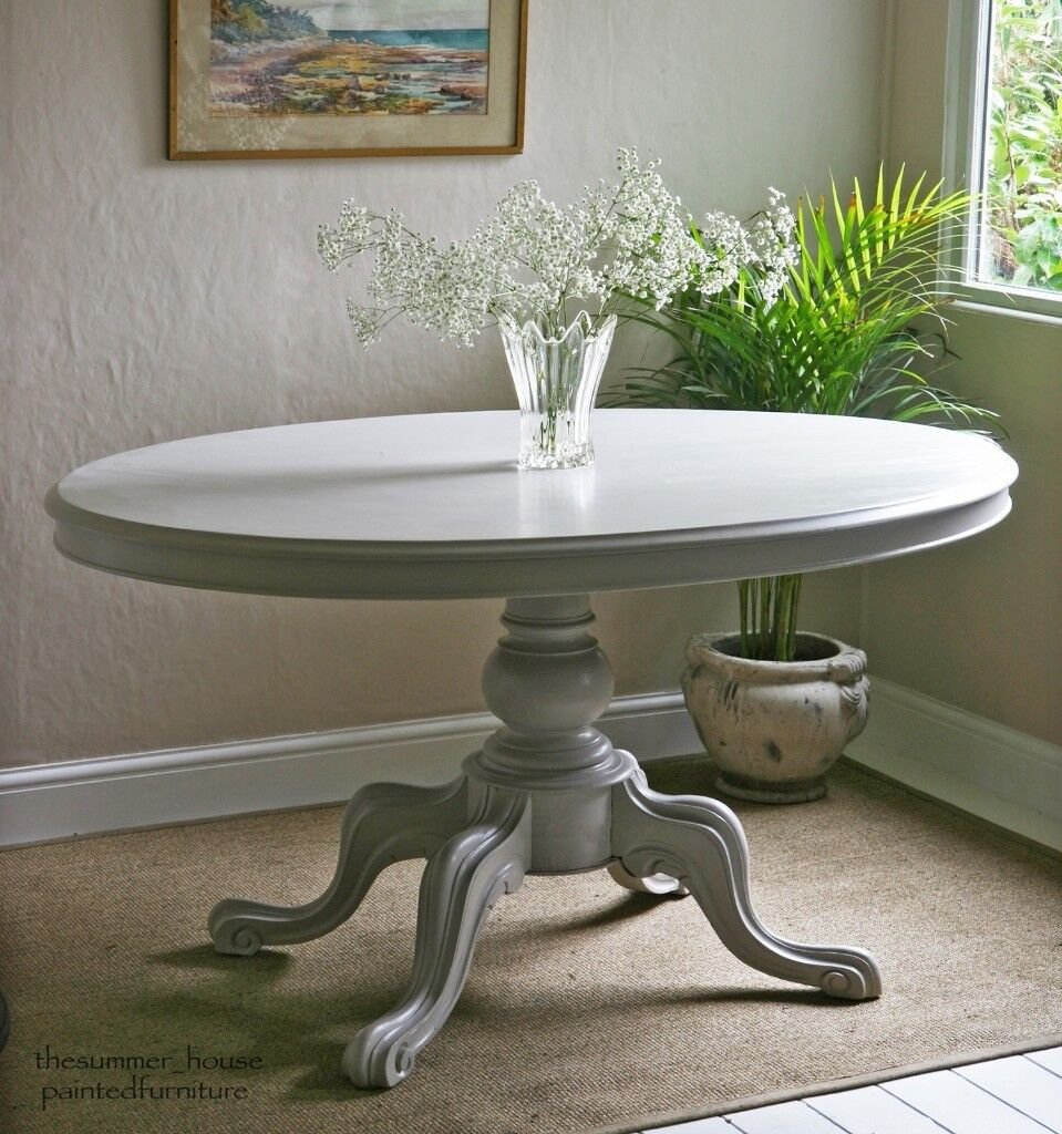 Antique oval dining kitchen pedestal table painted in purbeck stone by farrow ball