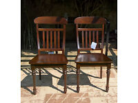 A set of 4 x New Sheraton Solid Walnut Dining Chairs.