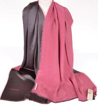 New Burberry $450 Sweet Pea Pink Reversible 100% Mulberry Silk Logo Scarf