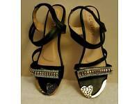 black Diamante flat summer sandals