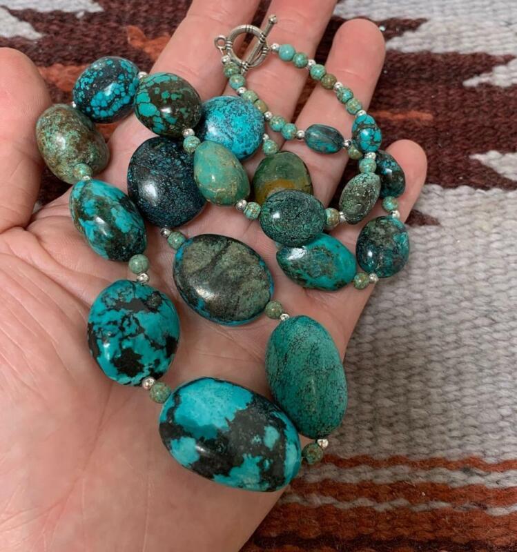 "21"" bold Gradual turquoise pebble bead necklace/Gorgeous!!/(G185w-w4)"