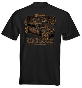 Velocitee Mens T-Shirt Junk Yard Garage Hot Rat Rod Muscle V8 Route Retro 66