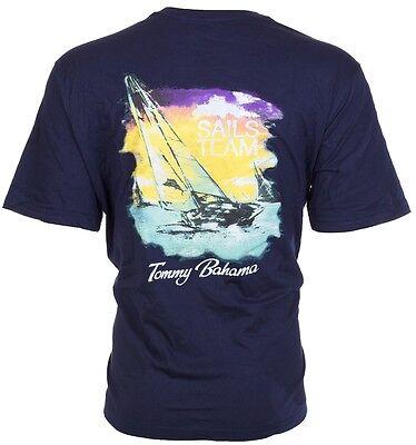 Tommy Bahama Mens T Shirt Sails Team Sailboat Boating Navy Blue Relax Camp  45