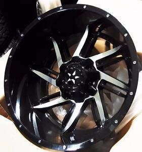 New BLACK MACHINED FACE 20x12 -44 HEAVY DUTY WHEELS!! 8X165 - 8x170 DODGE RAM CHEVY GMC 2500 3500 FORD F250 F350 - 876