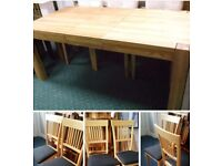 EXTENDING DINING TABLE AND 6 CHAIRS. EX. CONDITION