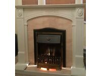 Living Flame Electric Fire with Marble and Wood effect Fireplace