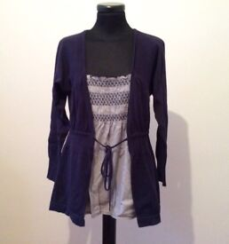MONSOON Ladies Cotton Top & Navy layer effect cardigan - Size 12