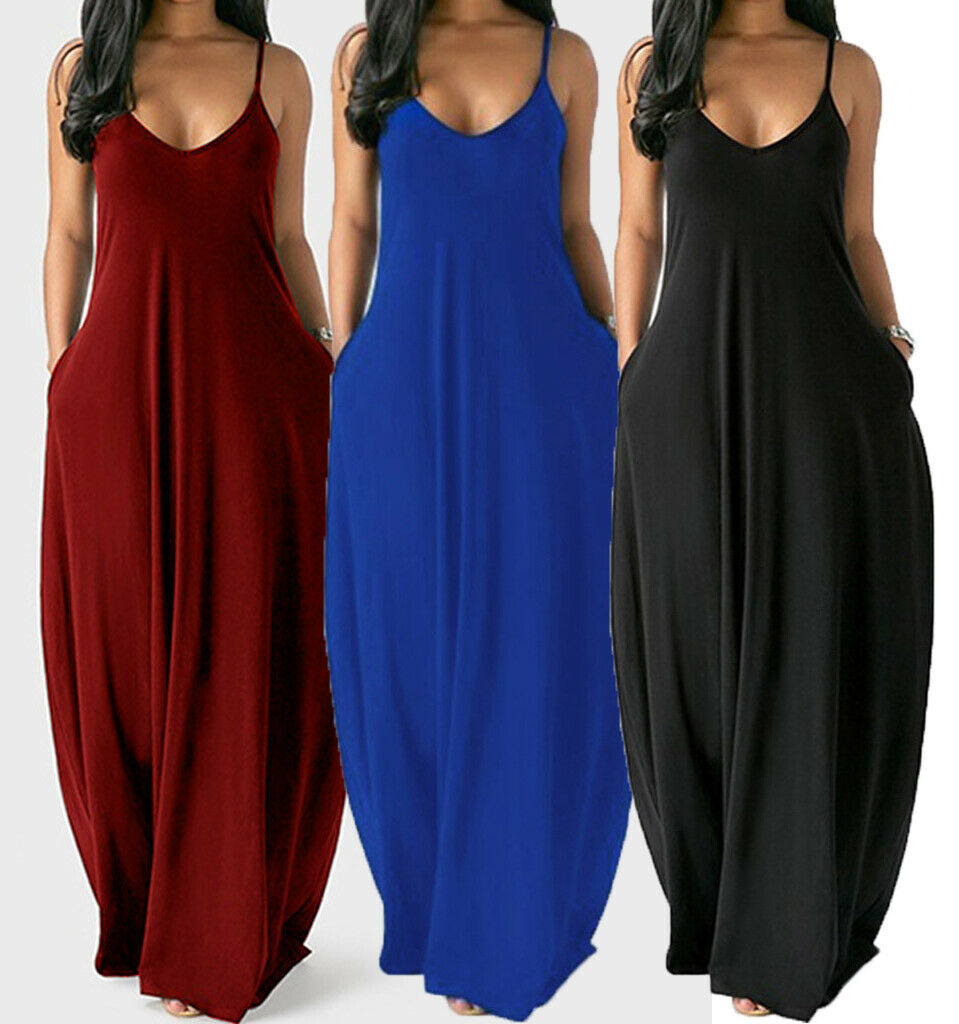 Women Casual Lady Sleeveless Long Loose Maxi Summer Beach Tank Dress Sundress