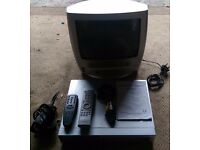 CCTV DVR and Portable TV with remotes & leads