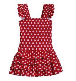 Girls Kids One Piece Swimsuit Square Collar Swimwear Ruffle Swimming Costumee