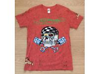 Brand new vintage Ed Hardy men's T-shirt. Dark Orange. Medium. Piston Skull design. With rhinestones