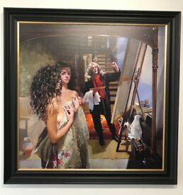 Robert Lenkiewicz The Painter With Anna Giclee on Canvas Limited Edition