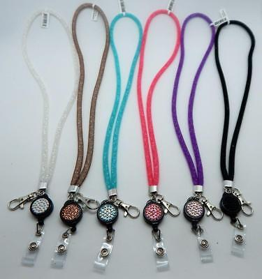 Stardust Crystal & Mesh Extendable Lanyards 6 Different Colors - Jewelry Lanyards