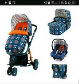 Cosatto pushchair. With pram, car seat and changing bag