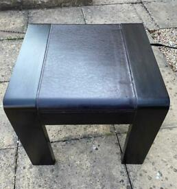 Sturdy wooden table with leather look top, a few marks but overall good condition