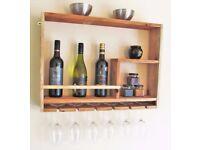 Handmade rustic Wine and glass rack