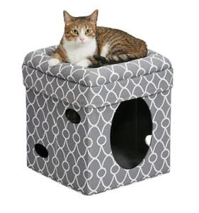 NEW Midwest Home For Pets Curious Cat Cube, Cat House/Cat Condo in Gray Geo Print