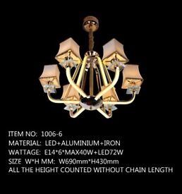 LED CEILING LIGHT – 6 ROYAL BOX AMAZING CHANDELIER SPECIAL OFFER ONLY 2 LEFT!!
