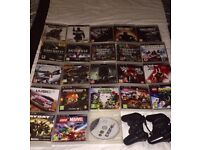 PS3 with 2 controllers and 24 games