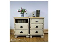 A PAIR OF SHABBY CHIC PINE BEDSIDE TABLES IN ANNIE SLOAN