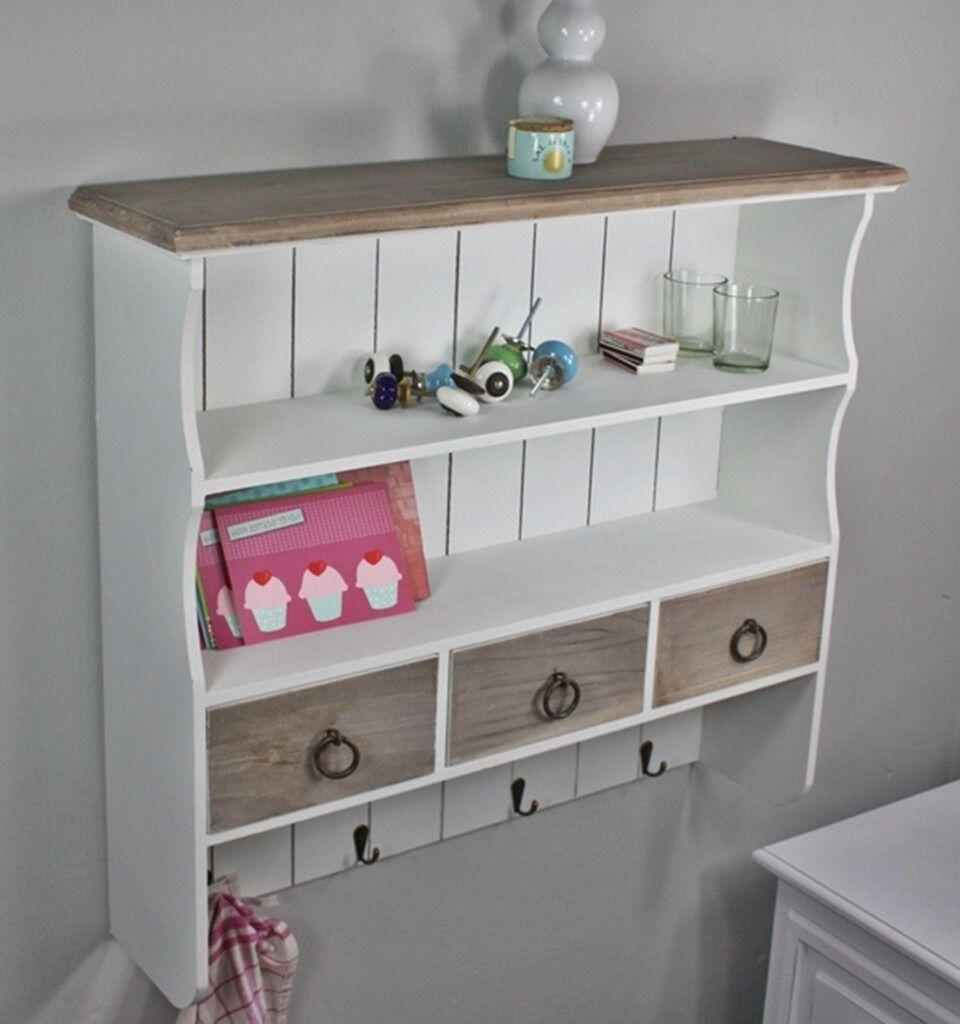 New Wall Shelves White Country Cottage Style Boxed