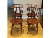 Ercol style mid century stick back dining chairs