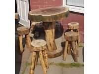 Rustic Beautiful Table and 4 stools