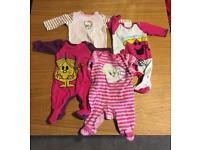 Selection of hello kitty, little miss and tweety pie babygros (Newborn to 0-3 months)