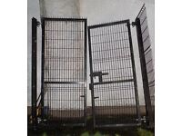 Large heavy duty security gates with gate posts, height 244cm