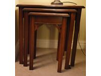 BEAUTIFUL NEST OF TABLES IN SOLID MAHOGANY/CHERRY WOOD