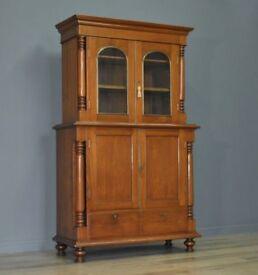 Attractive Large Antique Edwardian Teak Glazed Door Bookcase Cabinet