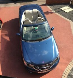 SAAB 9-3 2008 1.9TiD Vector Convertible Blue Manual Diesel FSH 69000 miles. Excellent Condition.