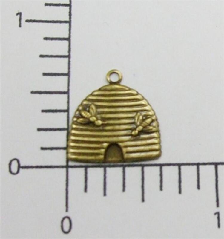 35483         4 Pc Brass Oxidized Bee Hive Jewelry Finding Charm