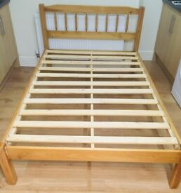 Small double bed solid wood pine