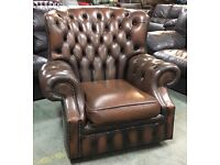 Antique Brown leather Chesterfield Wingback chair WE DELIVER UK WIDE