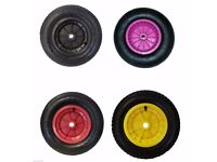 """sailing dinghy Trolley wheels and tyres (pair of) blue, green, yellow, black, lylac, orange 14"""""""