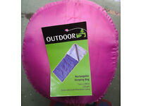 Rectangular Water Repellant Single Person Sleeping Bag in Fuchsia by OUTDOOR