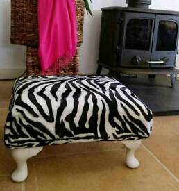 Zebra print padded vintage footstool