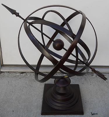 "24"" Large Iron Armillary Sphere with Arrow Garden Decor"