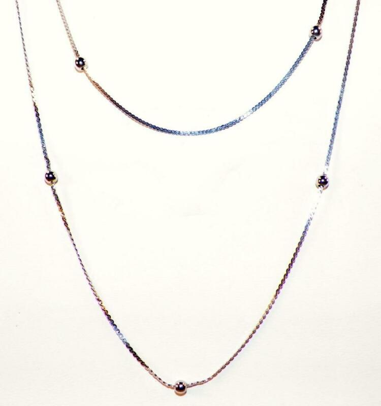 2 Sterling Silver Necklaces Matching Dainty Chains Beads 22.5 & 20in. Nice