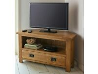 Rustic solid oak corner TV cabinet.(no veneer in here)