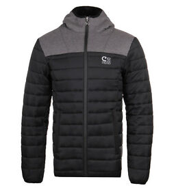 Cruyff Slim Coat | Black & Charcoal Quilted | Hooded Jacket - RRP £109.99