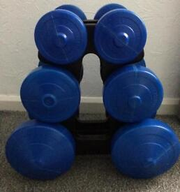3 x pairs of dumbell weights