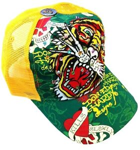 NEW ED HARDY RHINESTONE TRUCKER HAT CAP YELLOW TIGER