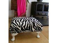 Black & white Zebra print footstool