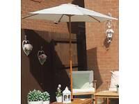 Cream wood effect aluminium garden parasol, base and parasol cover