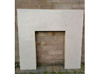 Marble Hearth and Back Panel in cream