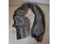 Grey and white large scarf