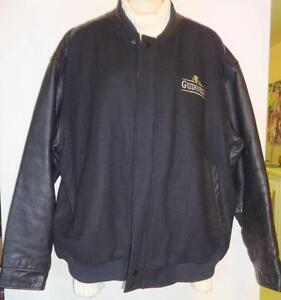 "XL 50"" GUINESS BEER MENS LEATHER WOOL JACKET BLACK STOCKY Bomber coat / Embroidered Logos / Brassie Pub Tavern Bar xxl"